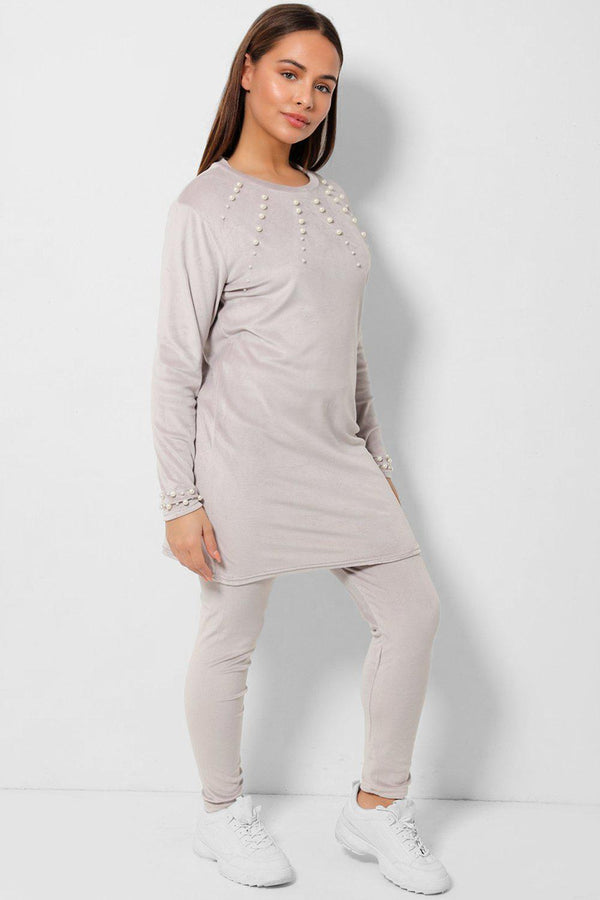 Grey Pearls Embellished Velvet Tunic And Leggings Two Piece Set
