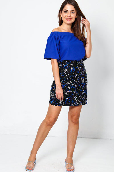Blue And White Leaf Print Skirt-SinglePrice