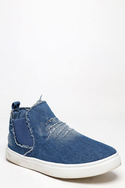 Worn Effect Sole Light Blue Distressed Denim Plimsoles-SinglePrice