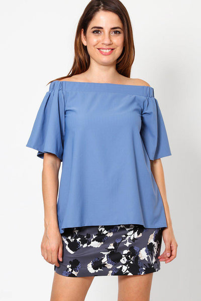 Light Blue Off Shoulder Top-SinglePrice