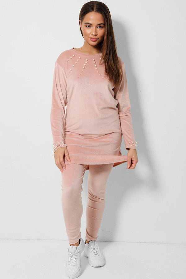 Back Pearls Embellished Velvet Tunic And Leggings Two Piece Set