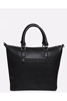 Black Vegan Leather Silver Zip Top Shoulder Bag