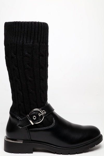 Knitted Sock Buckle Detail Boots-SinglePrice