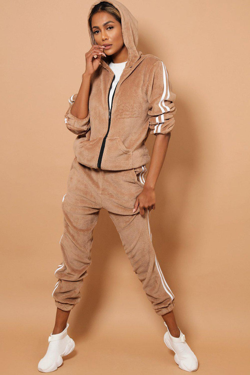 Twin White Stripe Super Fluffy Beige 2 Piece Tracksuit - SinglePrice