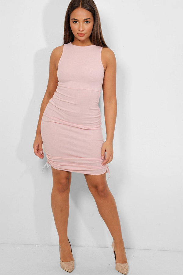 Pink Side Drawstring Detail Sleeveless Midi Ribbed Dress - SinglePrice