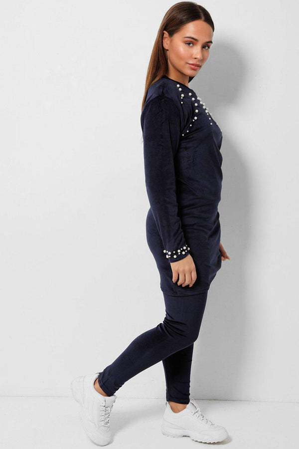 Navy Pearls Embellished Velvet Tunic And Leggings Two Piece Set