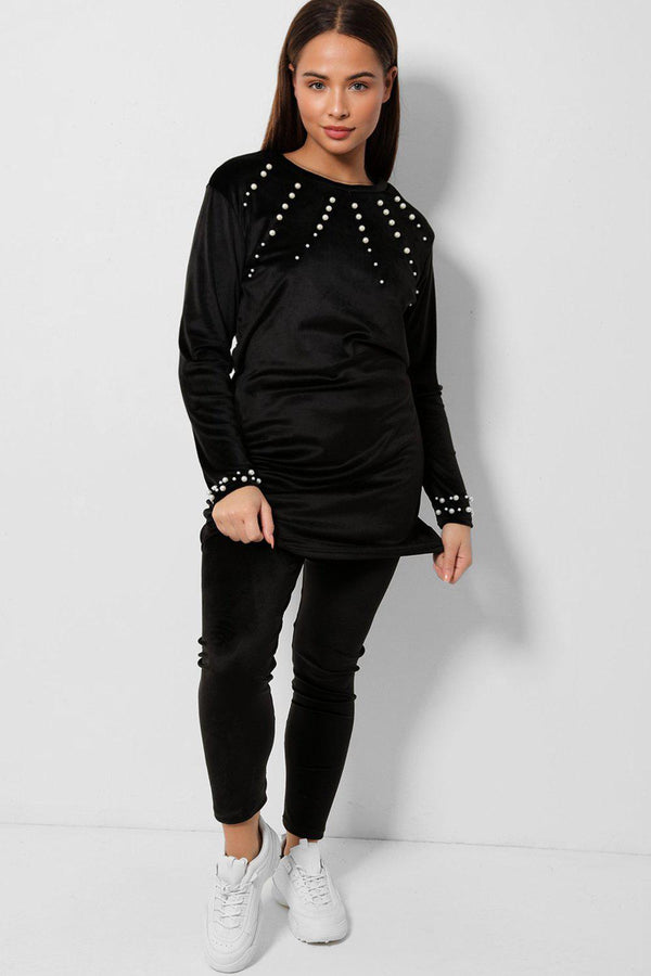 Black Pearls Embellished Velvet Tunic And Leggings Two Piece Set