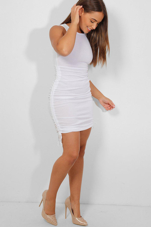 White Side Drawstring Detail Sleeveless Midi Ribbed Dress - SinglePrice
