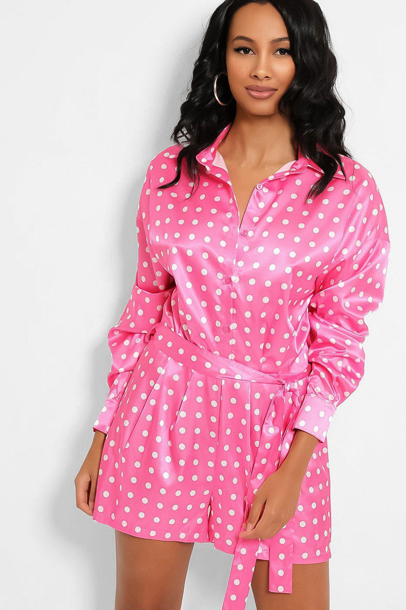 Pink Polka Dot Self-Belt Satin Playsuit - SinglePrice