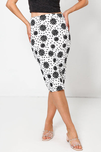 White Floral Print Pencil Skirt-SinglePrice