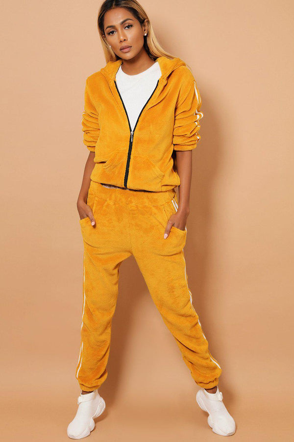 Twin White Stripe Super Fluffy Mustard 2 Piece Tracksuit - SinglePrice