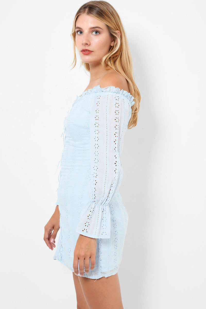 Light Blue Broderie Anglaise Bardot Lace Up Front Bodycon Mini Dress - SinglePrice