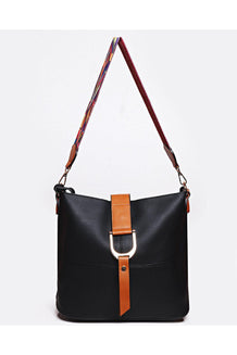 Two-In-One Embroidered Strap Buckle Detail Black Shoulder Bag