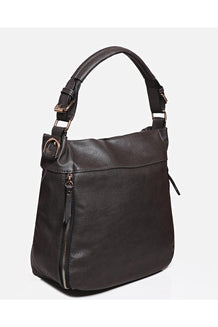 Coffee Gold Zips Front Shoulder Bag