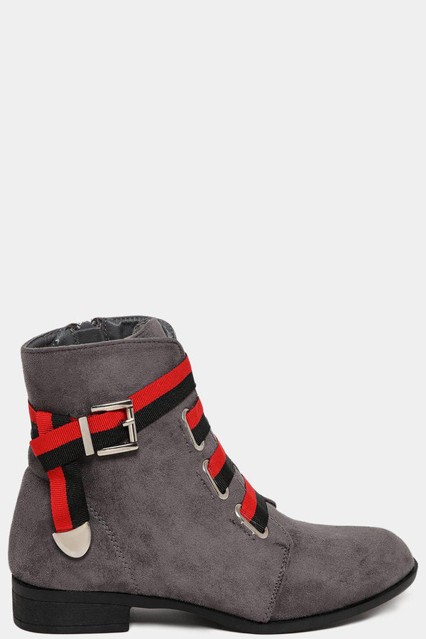 Grey Tape Stripe Lace Up Ankle Boots - SinglePrice