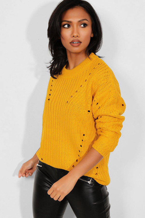 Yellow Perforated Knit Sweater - SinglePrice