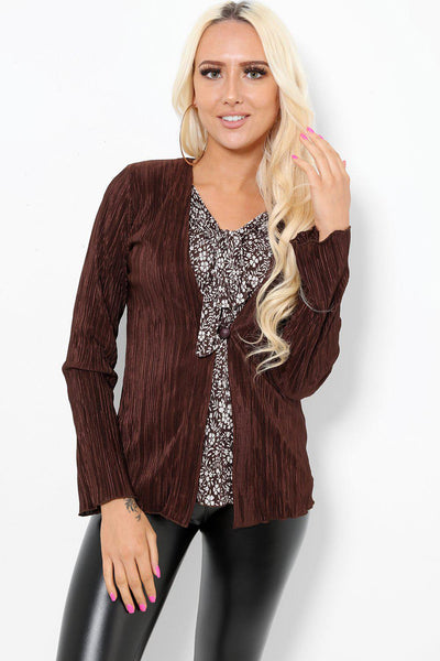 Brown And Beige 2-In-1 Office Blazer-SinglePrice