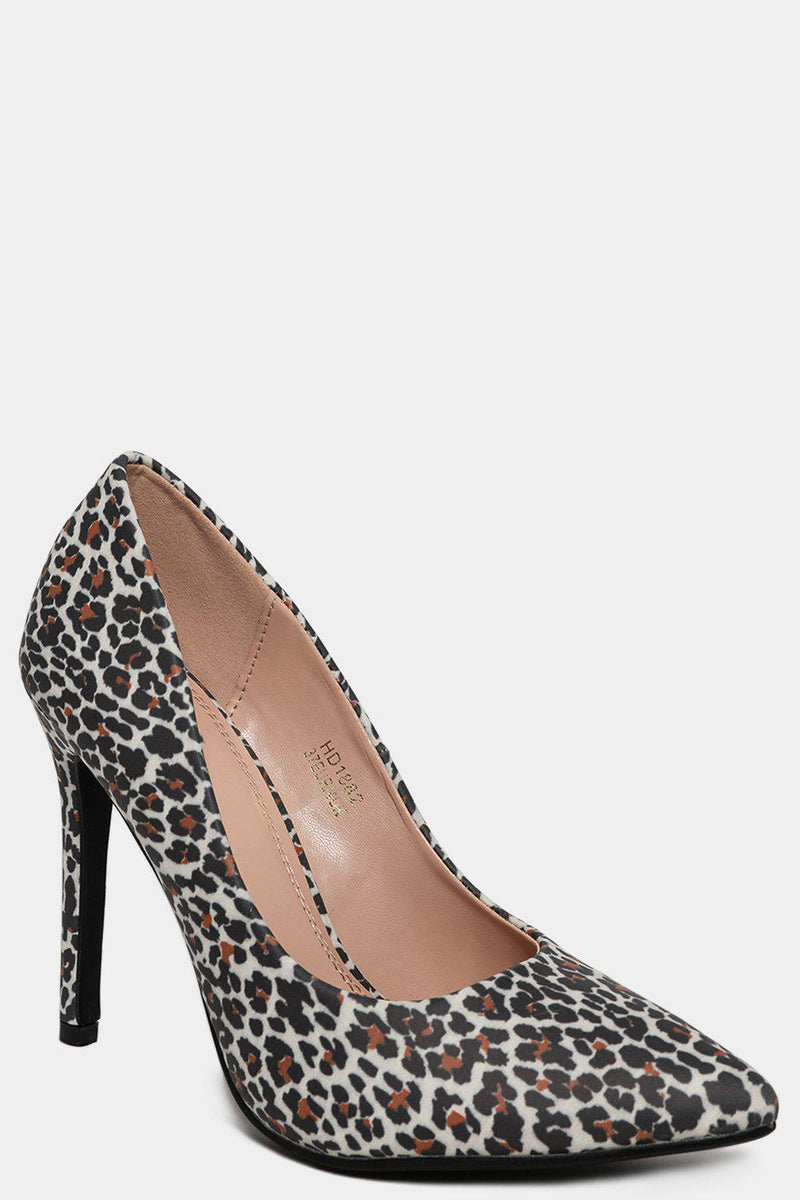 Vegan Leather Leopard Print Slip On Stiletto Heels - SinglePrice