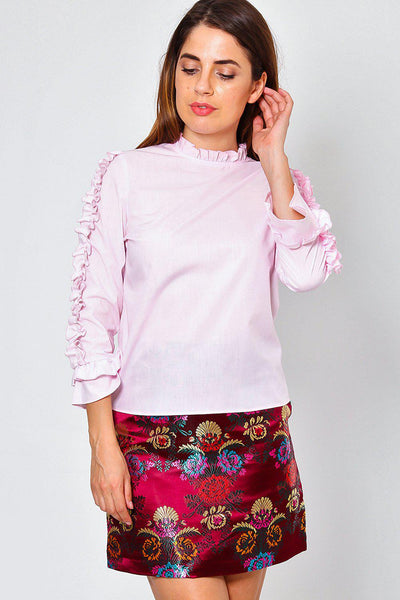 Ruffle Sleeves And Neck Pink Top-SinglePrice