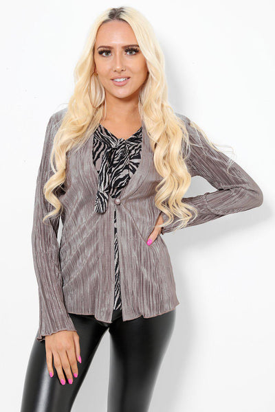 Beige And Black 2-In-1 Office Blazer-SinglePrice