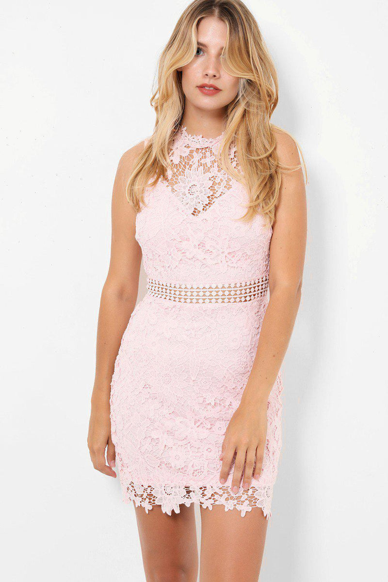 Pink Lace Sweetheart Neck Line Sleeveless Bodycon Mini Dress - SinglePrice