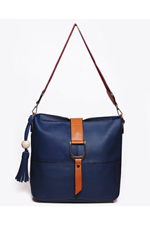 Two-In-One Embroidered Strap Buckle Detail Navy Shoulder Bag