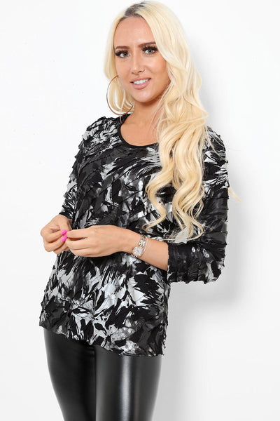 Black Silver Abstract Print Ruffled Top-SinglePrice