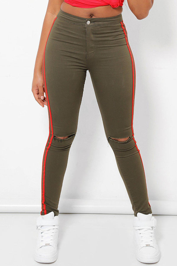 Double Red Stripe Khaki Jeans-SinglePrice
