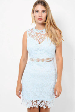 Blue Lace Sweetheart Neck Line Sleeveless Bodycon Mini Dress - SinglePrice