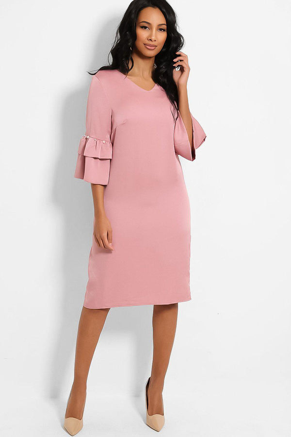 Dusty Pink Layered Pearls Embellished Sleeves Midi Shift Dress - SinglePrice