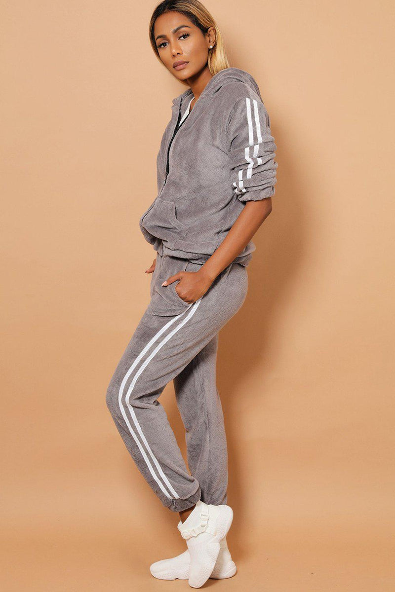 Twin White Stripe Super Fluffy Grey 2 Piece Tracksuit - SinglePrice