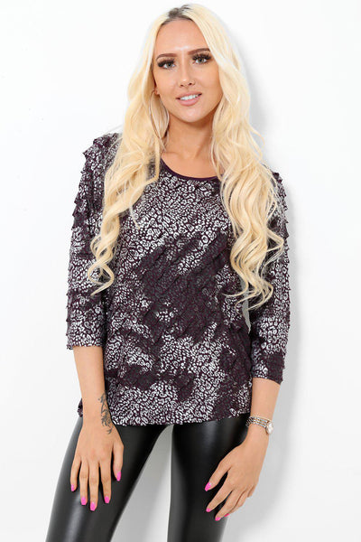 Purple Leopard Print Ruffled Top-SinglePrice