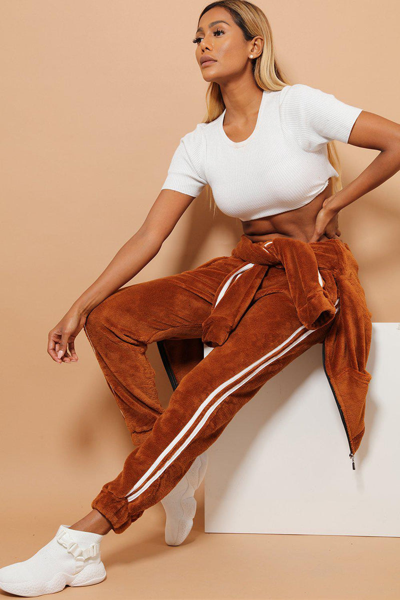 Twin White Stripe Super Fluffy Brown 2 Piece Tracksuit - SinglePrice