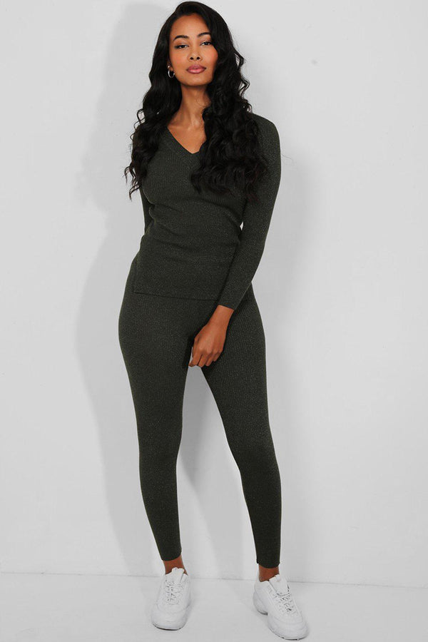 Khaki Shimmer Knit Pullover And Leggings Set