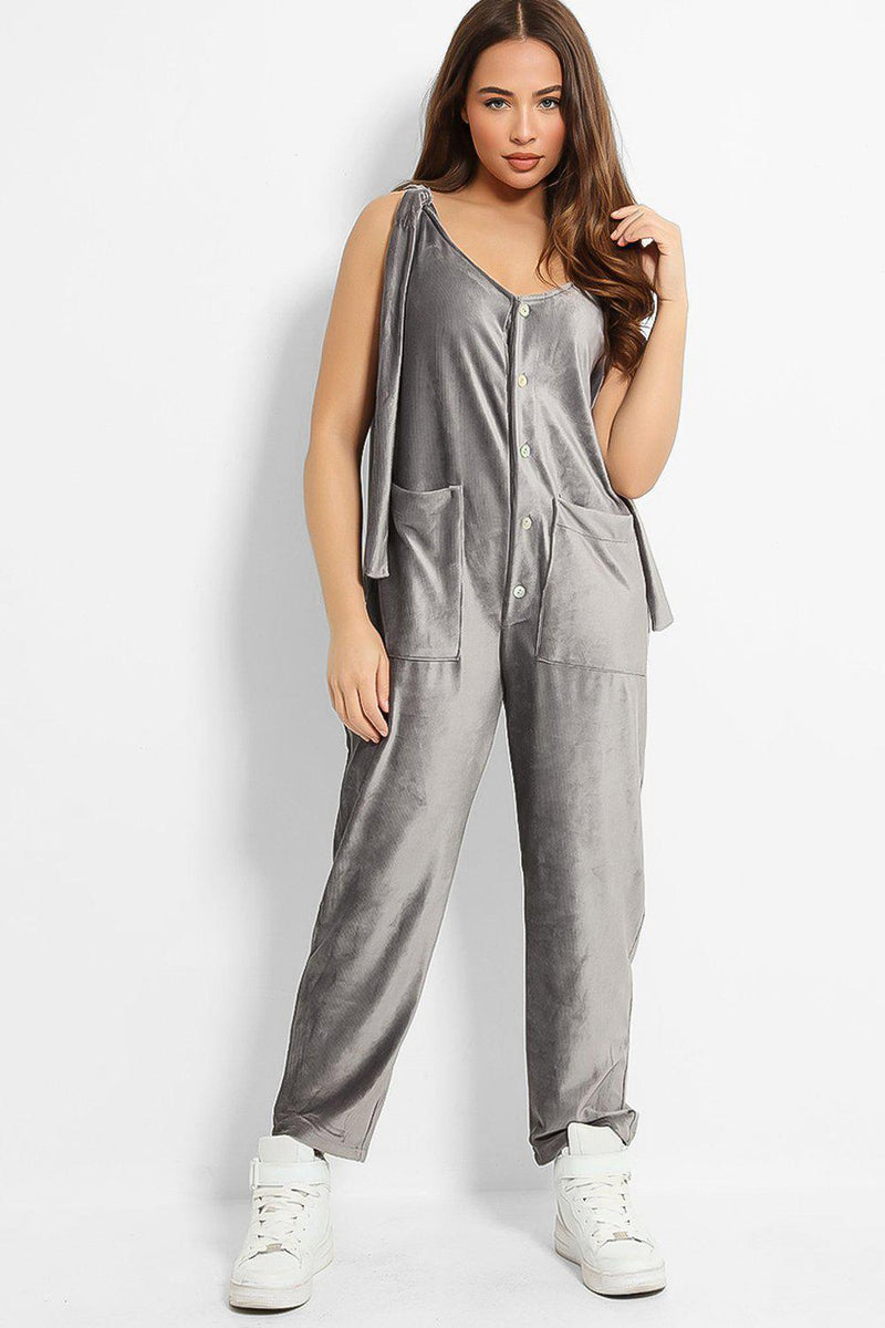 Grey Ribbed Velvet Ties Details Lazy Fit Lounge Jumpsuit - SinglePrice