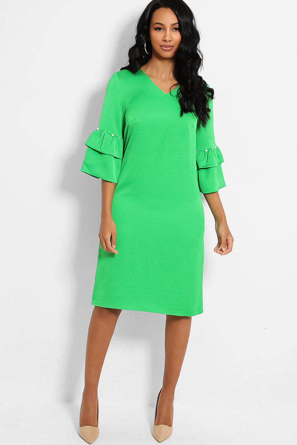 Green Layered Pearls Embellished Sleeves Midi Shift Dress - SinglePrice