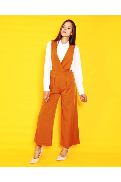 Brown Smart Crossover Jumpsuit-SinglePrice