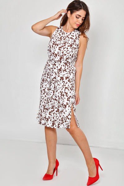 Cow Print Sleeveless Midi Dress-SinglePrice