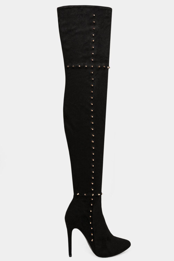 Black Studded Vegan Suede Over The Knee Stiletto Boots-SinglePrice