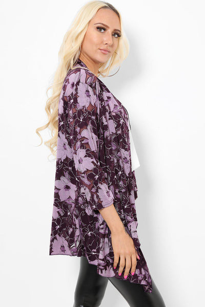 Purple Floral Print Sheer Cardigan-SinglePrice