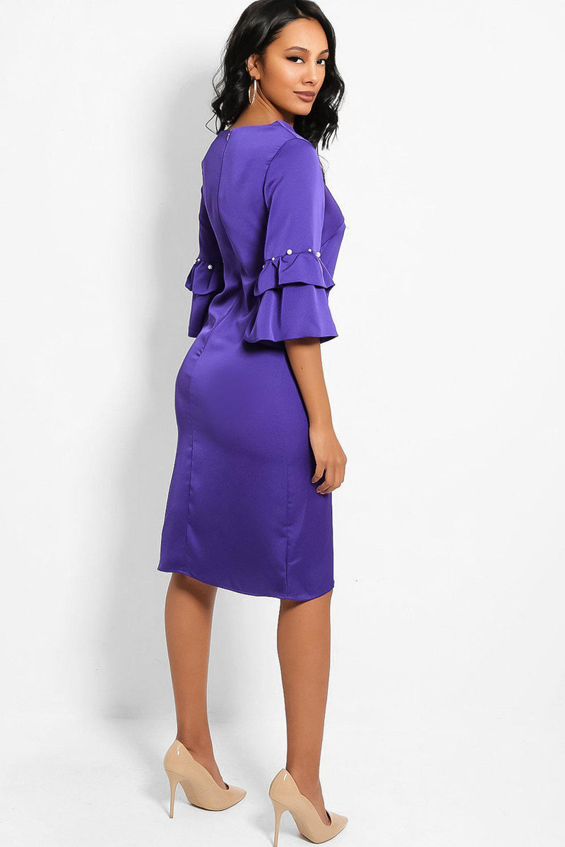 Purple Layered Pearls Embellished Sleeves Midi Shift Dress - SinglePrice