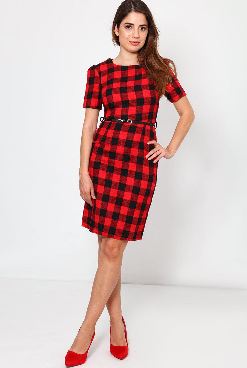 Black And Red Tartan Bodycon Dress - SinglePrice