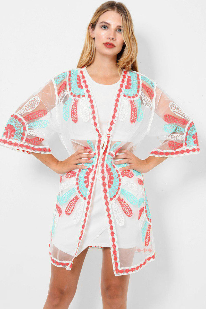 Embroidered Turquoise And Peach Mesh Cardigan - SinglePrice