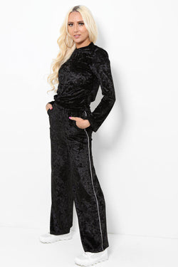 High Neck Top And Wide Leg Bottoms Black Set - SinglePrice