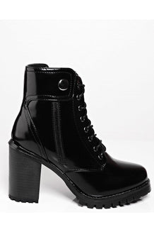 Black Patent PU Ankle Boots-SinglePrice