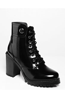 Black Patent PU Ankle Boots
