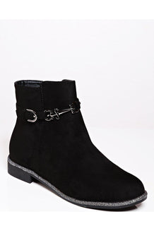 Black Ankle Buckle Strap Front Flat Boots