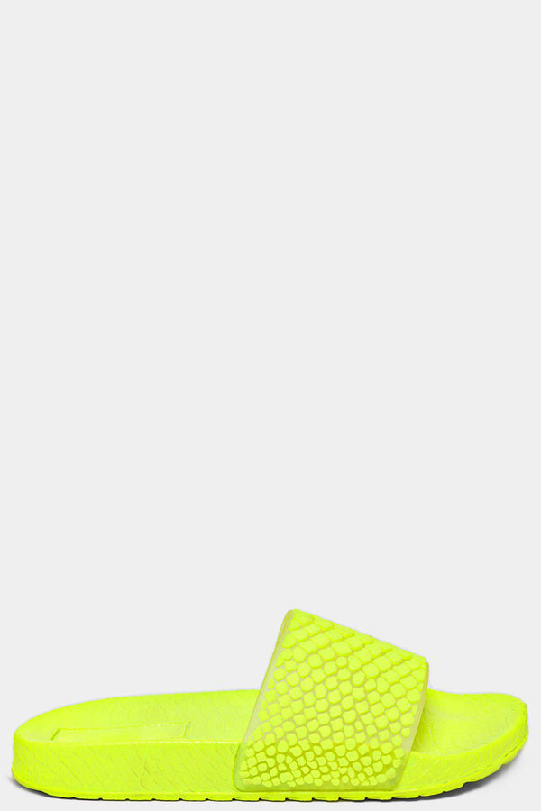 Neon Yellow Embossed Jelly Python Strap Sliders - SinglePrice