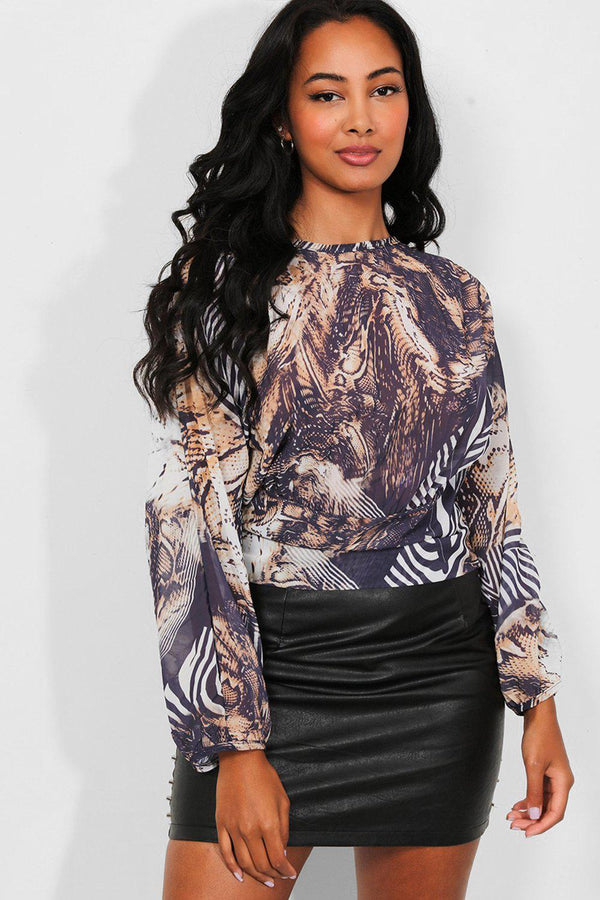 Blue Beige Mixed Animal Print Chiffon Blouse