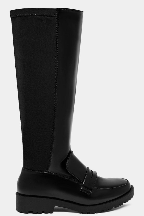 Black Knee High Loafer Style Two Textures Boots - SinglePrice